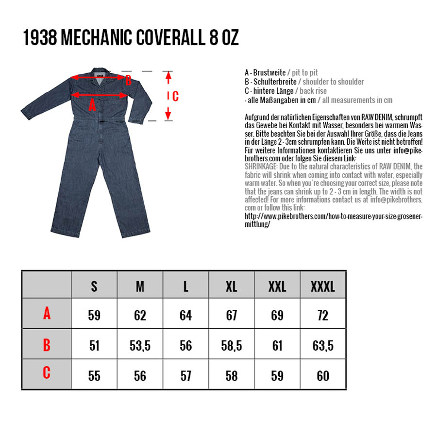 1938 Mechanic Coverall 8 oz indigo (blåställ, overall)