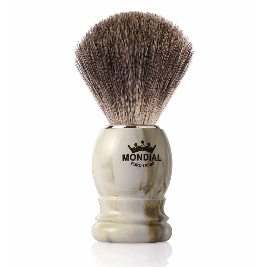 Mondial Basic Shaving Brush Grey Badger Clear Marble (rakborste)