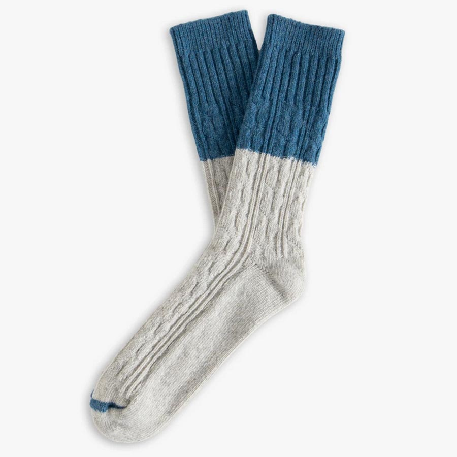 Cable Knit Blue Socks (rundvirkade blå yllestrumpor) 39-45