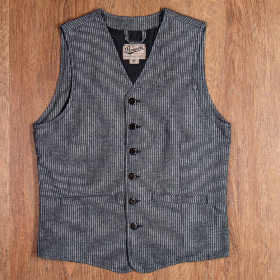 1905 Hauler Vest grey striped linen (väst)