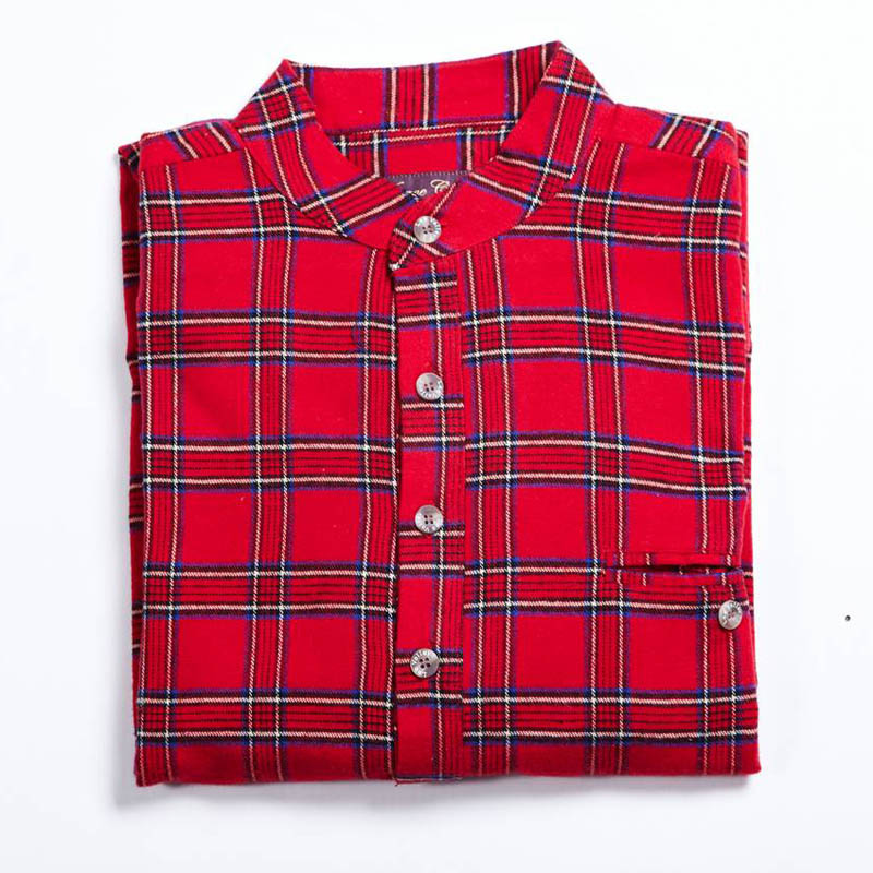 Flanellskjorta Tartan Flannel Irish Collarless G/F Red Tartan
